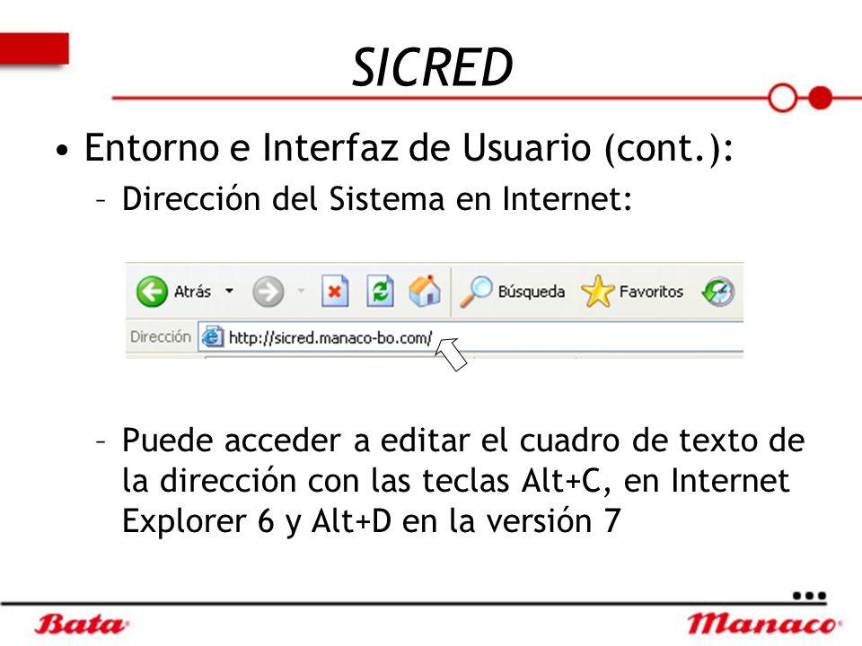 SICRED Entorno e Interfaz de Usuario (cont.):