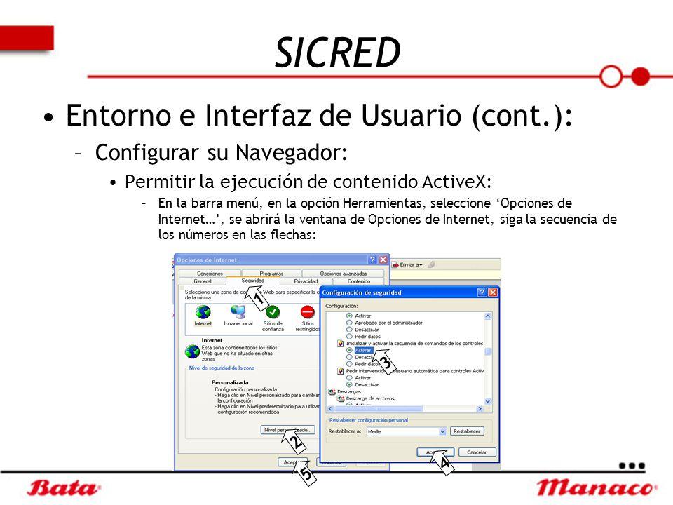 SICRED Entorno e Interfaz de Usuario (cont.): Configurar su Navegador: