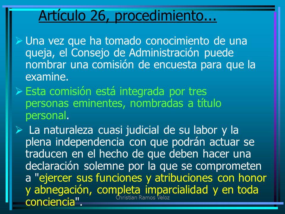 Artículo 26, procedimiento...