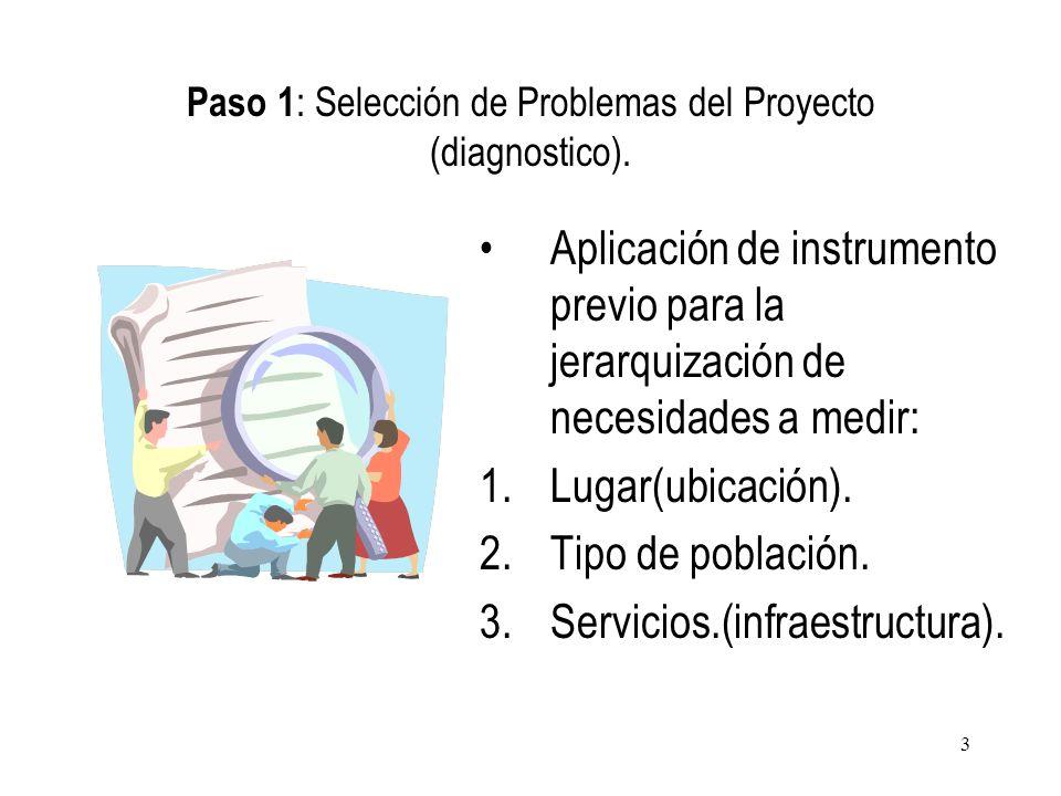 Paso 1: Selección de Problemas del Proyecto (diagnostico).