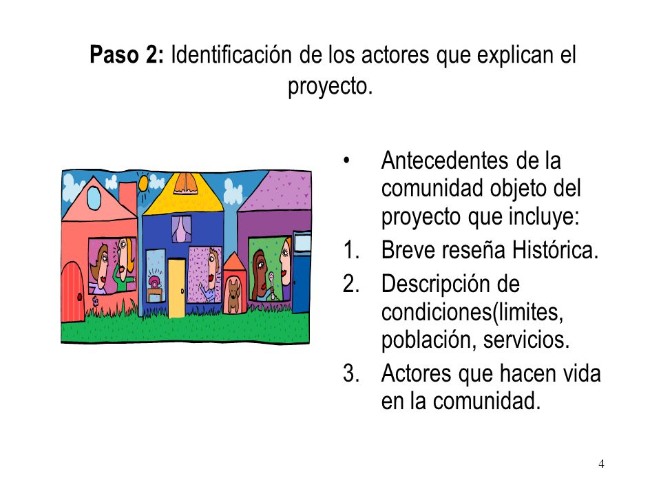 Paso 2: Identificación de los actores que explican el proyecto.