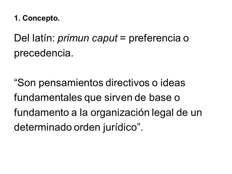 Del latín: primun caput = preferencia o precedencia.