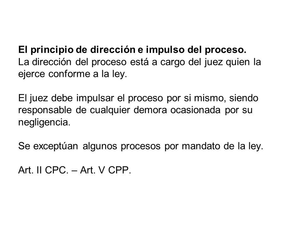 El principio de dirección e impulso del proceso
