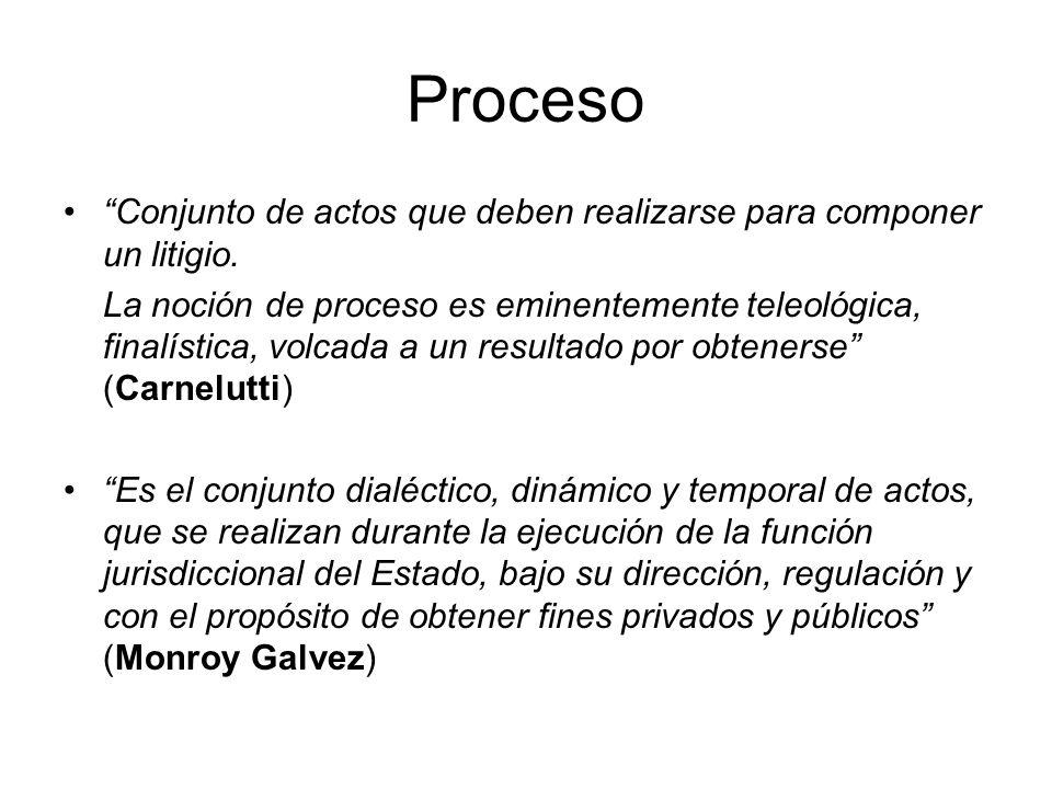 Proceso Conjunto de actos que deben realizarse para componer un litigio.