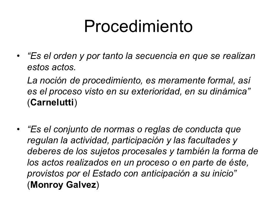 Procedimiento Es el orden y por tanto la secuencia en que se realizan estos actos.