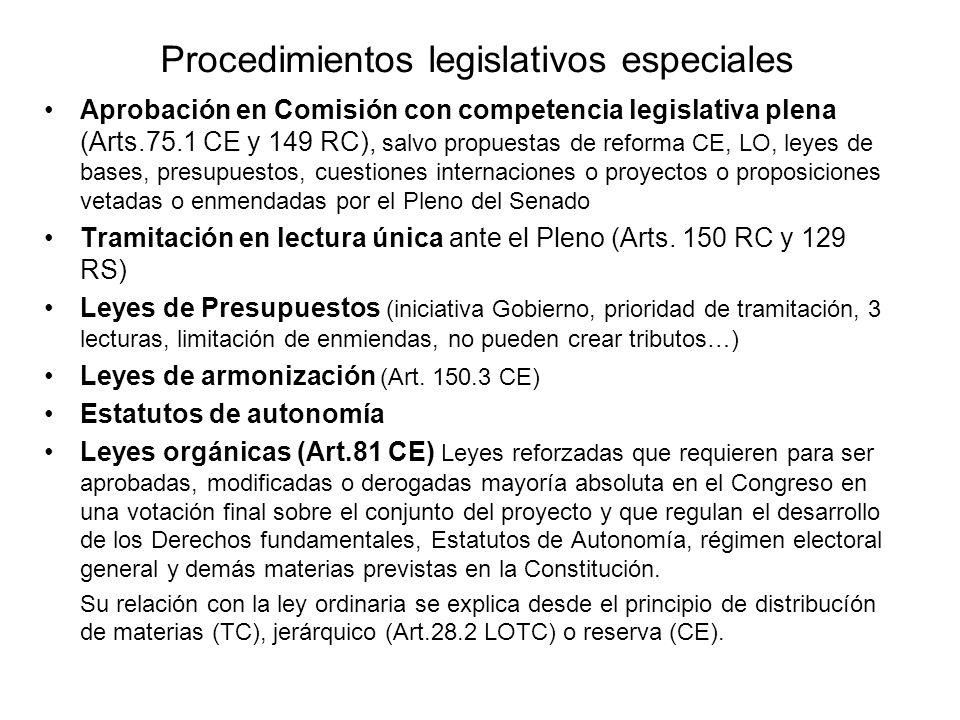 Procedimientos legislativos especiales