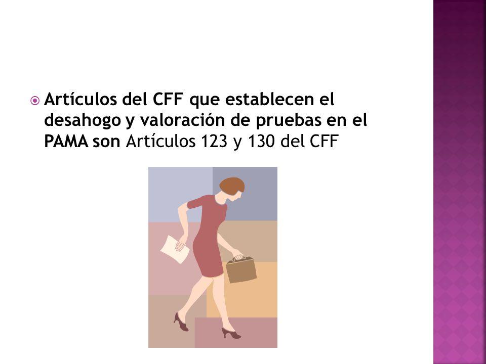 Artículos del CFF que establecen el desahogo y valoración de pruebas en el PAMA son Artículos 123 y 130 del CFF