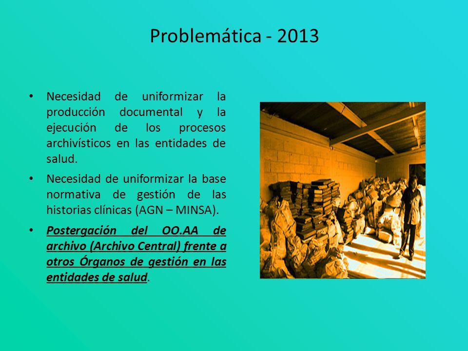 Problemática - 2013 Necesidad de uniformizar la producción documental y la ejecución de los procesos archivísticos en las entidades de salud.