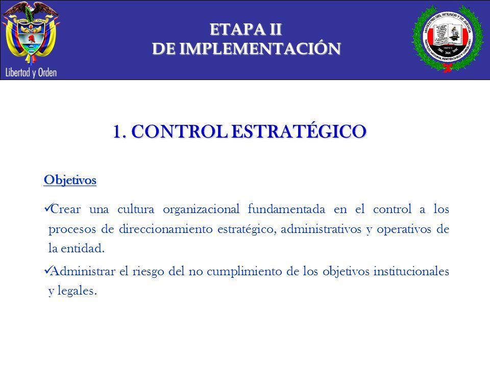 1. CONTROL ESTRATÉGICO ETAPA II DE IMPLEMENTACIÓN Objetivos
