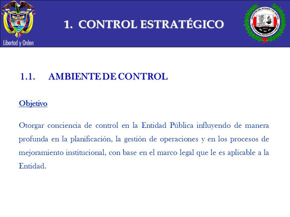 1. CONTROL ESTRATÉGICO 1.1. AMBIENTE DE CONTROL Objetivo