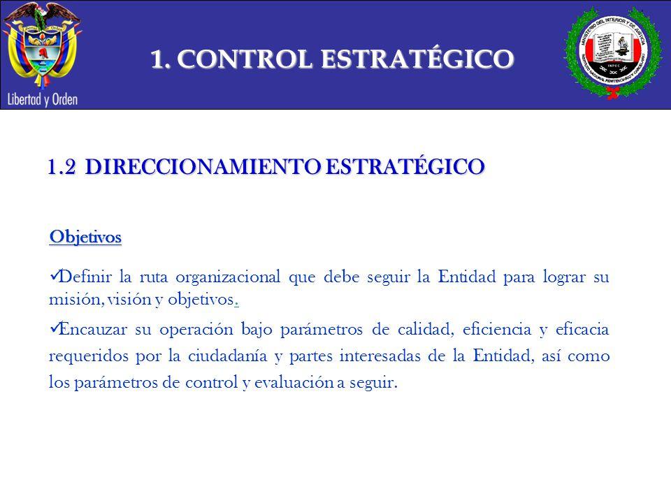 1. CONTROL ESTRATÉGICO 1.2 DIRECCIONAMIENTO ESTRATÉGICO Objetivos