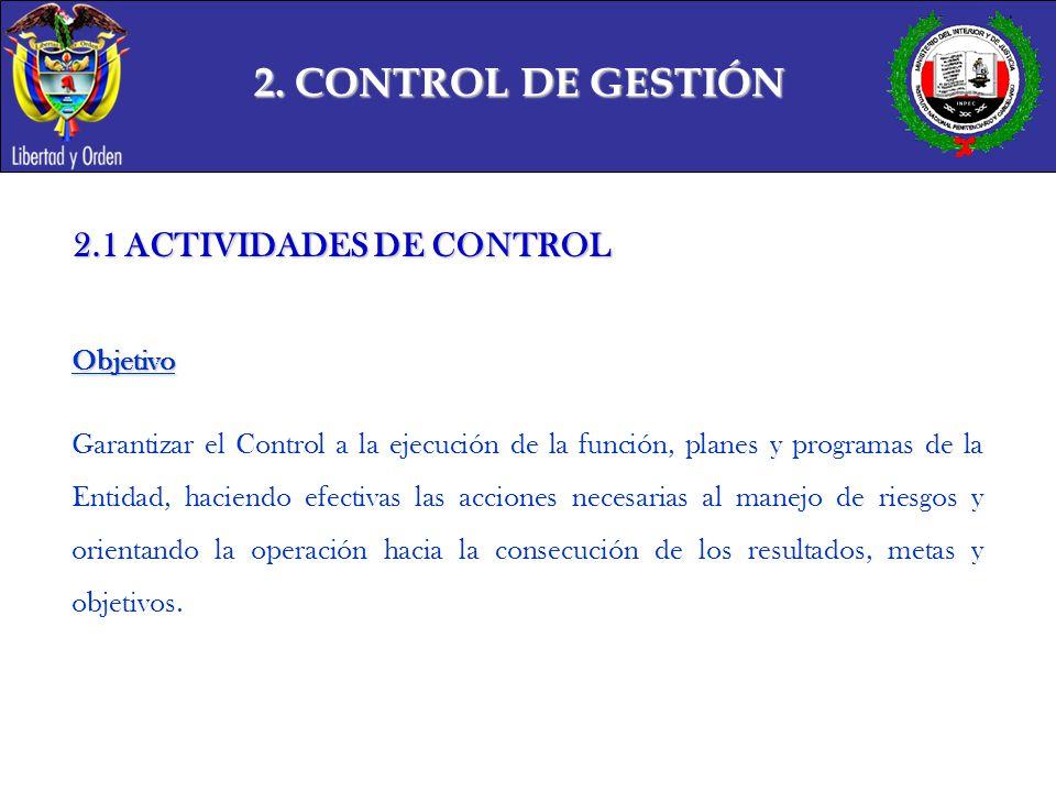 2. CONTROL DE GESTIÓN 2.1 ACTIVIDADES DE CONTROL Objetivo