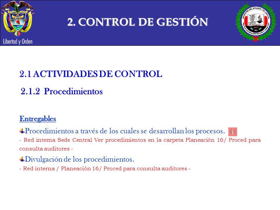 2. CONTROL DE GESTIÓN 2.1 ACTIVIDADES DE CONTROL 2.1.2 Procedimientos