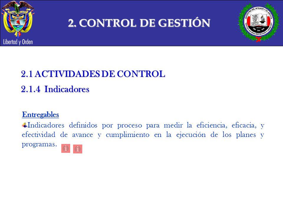 2. CONTROL DE GESTIÓN 2.1 ACTIVIDADES DE CONTROL 2.1.4 Indicadores