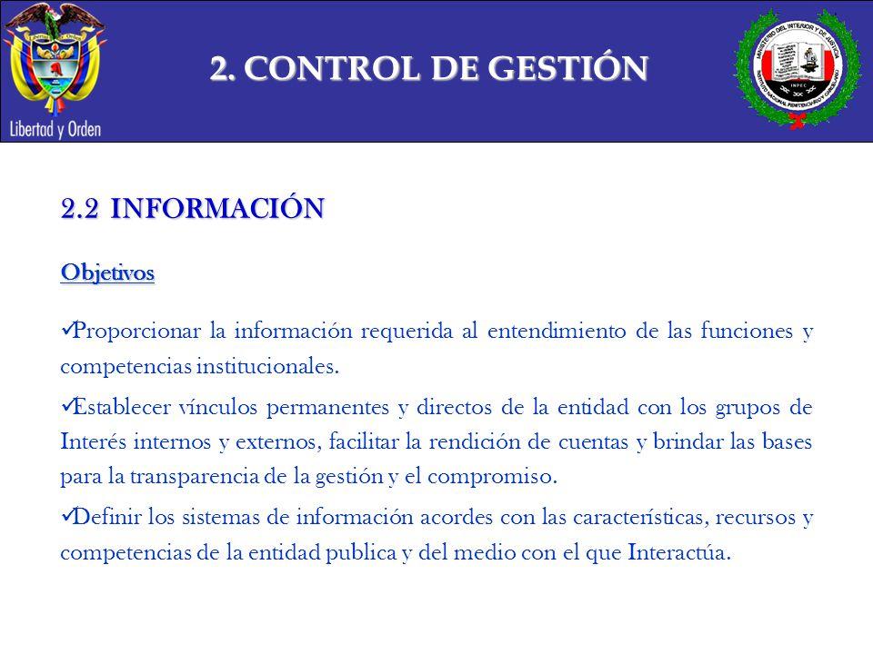2. CONTROL DE GESTIÓN 2.2 INFORMACIÓN Objetivos