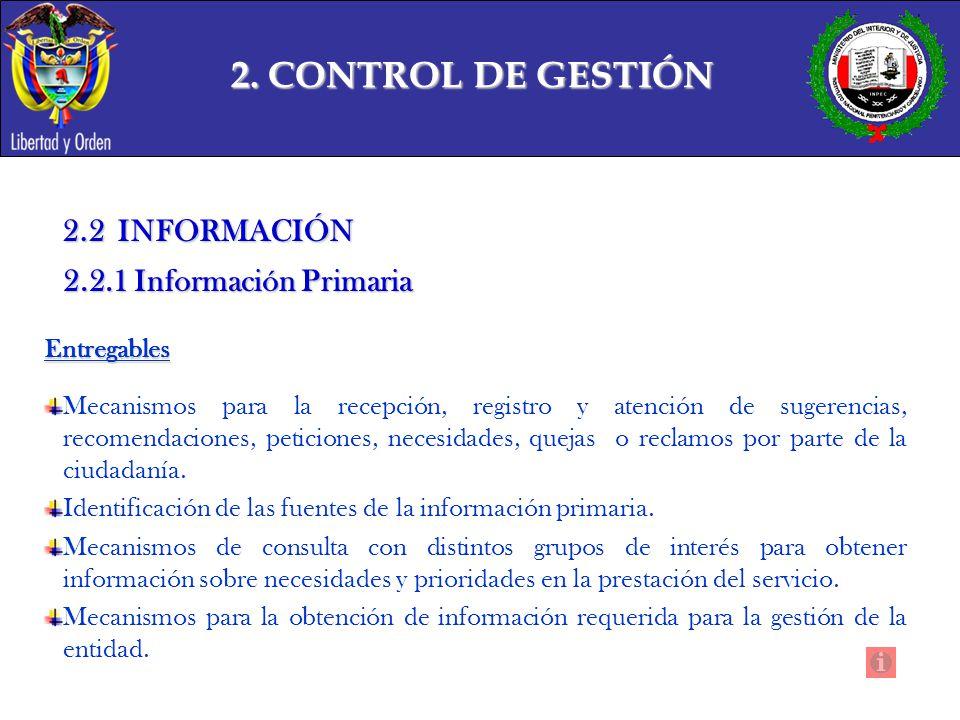 2. CONTROL DE GESTIÓN 2.2 INFORMACIÓN 2.2.1 Información Primaria