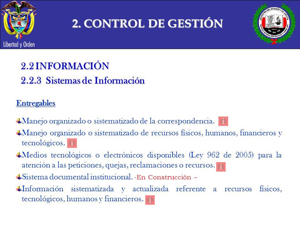 2. CONTROL DE GESTIÓN 2.2 INFORMACIÓN 2.2.3 Sistemas de Información