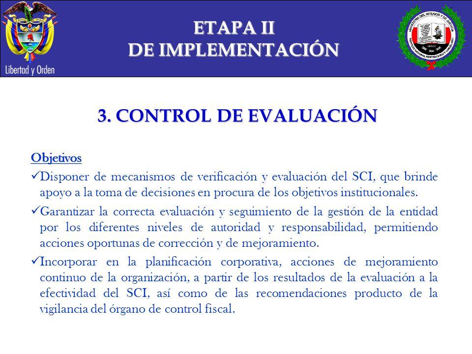 ETAPA II DE IMPLEMENTACIÓN 3. CONTROL DE EVALUACIÓN