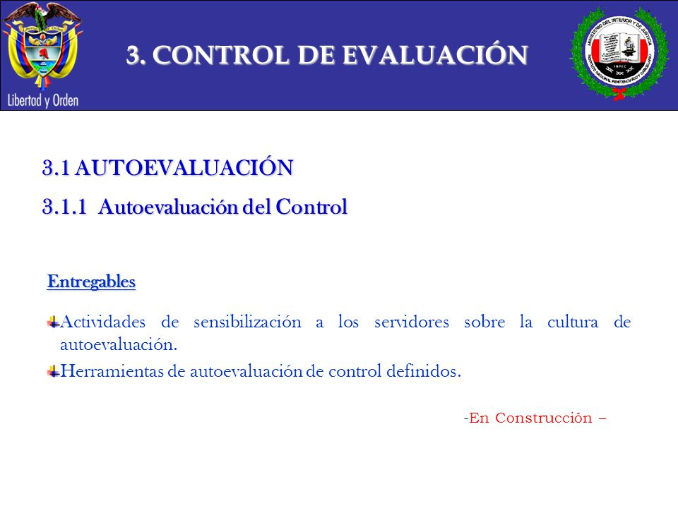 3. CONTROL DE EVALUACIÓN 3.1 AUTOEVALUACIÓN