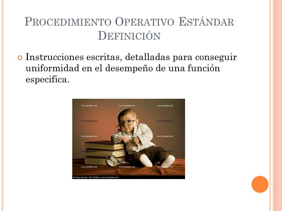 Procedimiento Operativo Estándar Definición