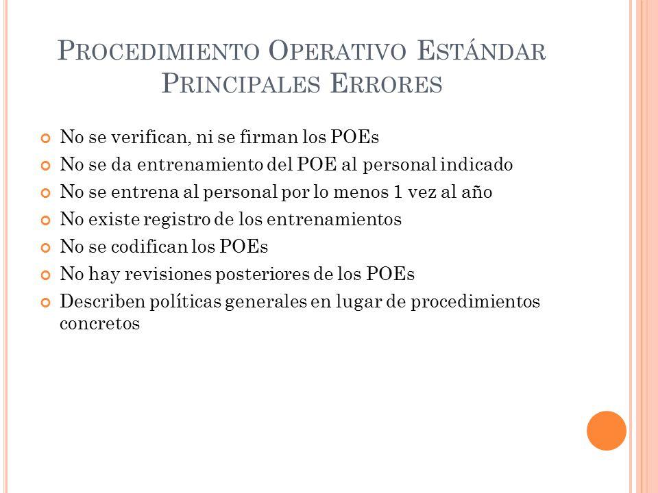Procedimiento Operativo Estándar Principales Errores