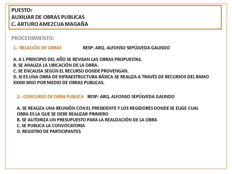 AUXILIAR DE OBRAS PUBLICAS C. ARTURO AMEZCUA MAGAÑA PROCEDIMIENTO: