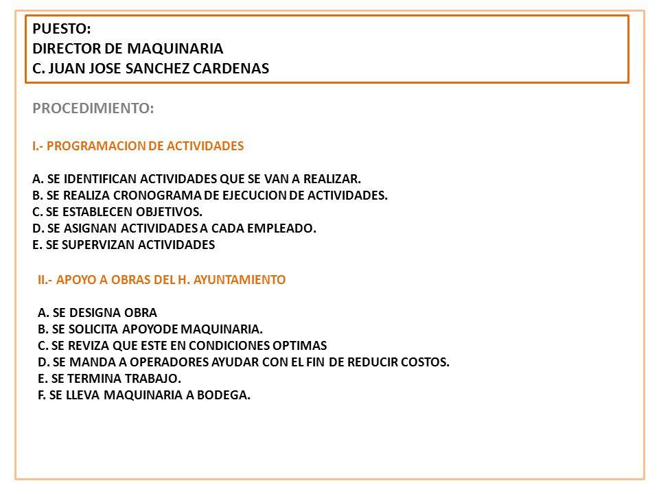 DIRECTOR DE MAQUINARIA C. JUAN JOSE SANCHEZ CARDENAS PROCEDIMIENTO: