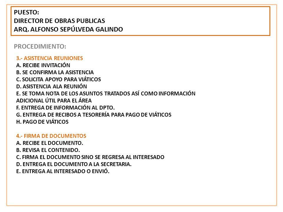 DIRECTOR DE OBRAS PUBLICAS ARQ. ALFONSO SEPÚLVEDA GALINDO