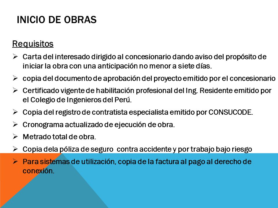 INICIO DE OBRAS Requisitos