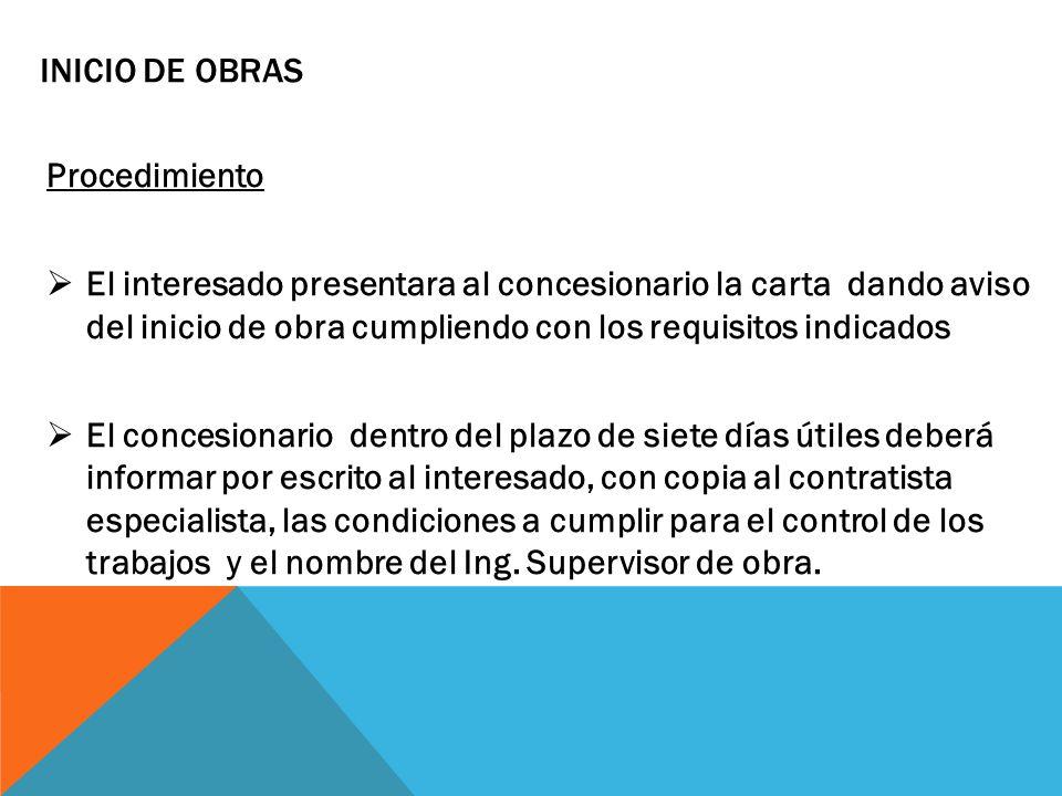 INICIO DE OBRAS Procedimiento.