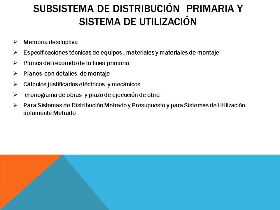 Subsistema de Distribución Primaria y Sistema de Utilización