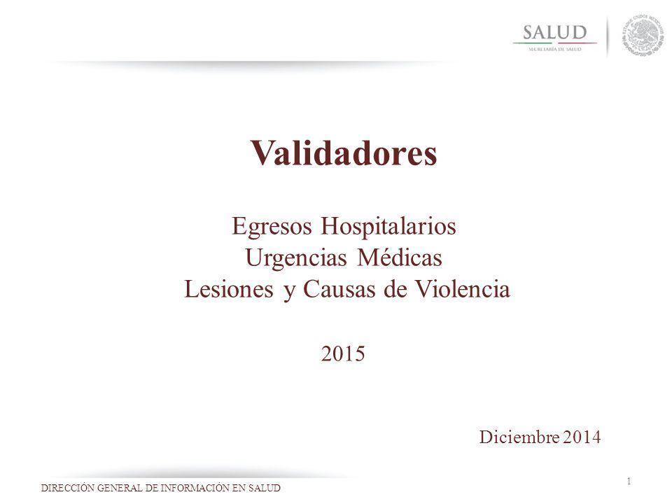 Validadores Egresos Hospitalarios Urgencias Médicas Lesiones y Causas de Violencia 2015