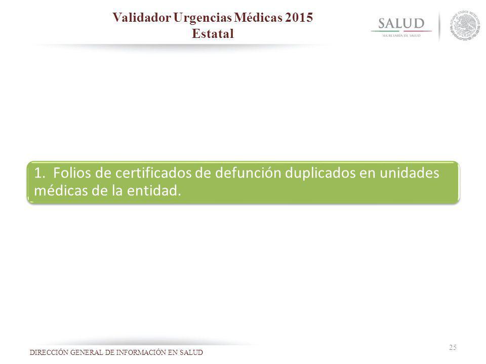 Validador Urgencias Médicas 2015 Estatal