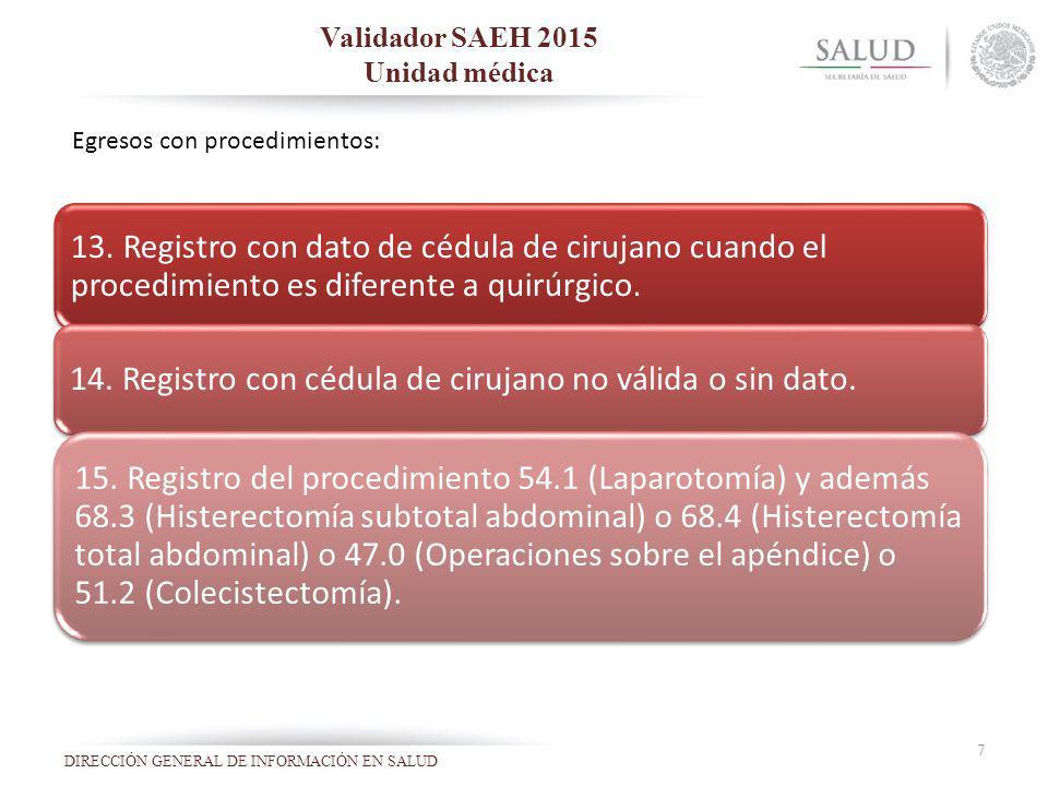 Validador SAEH 2015 Unidad médica