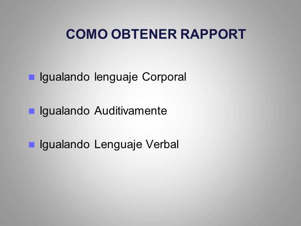 COMO OBTENER RAPPORT Igualando lenguaje Corporal