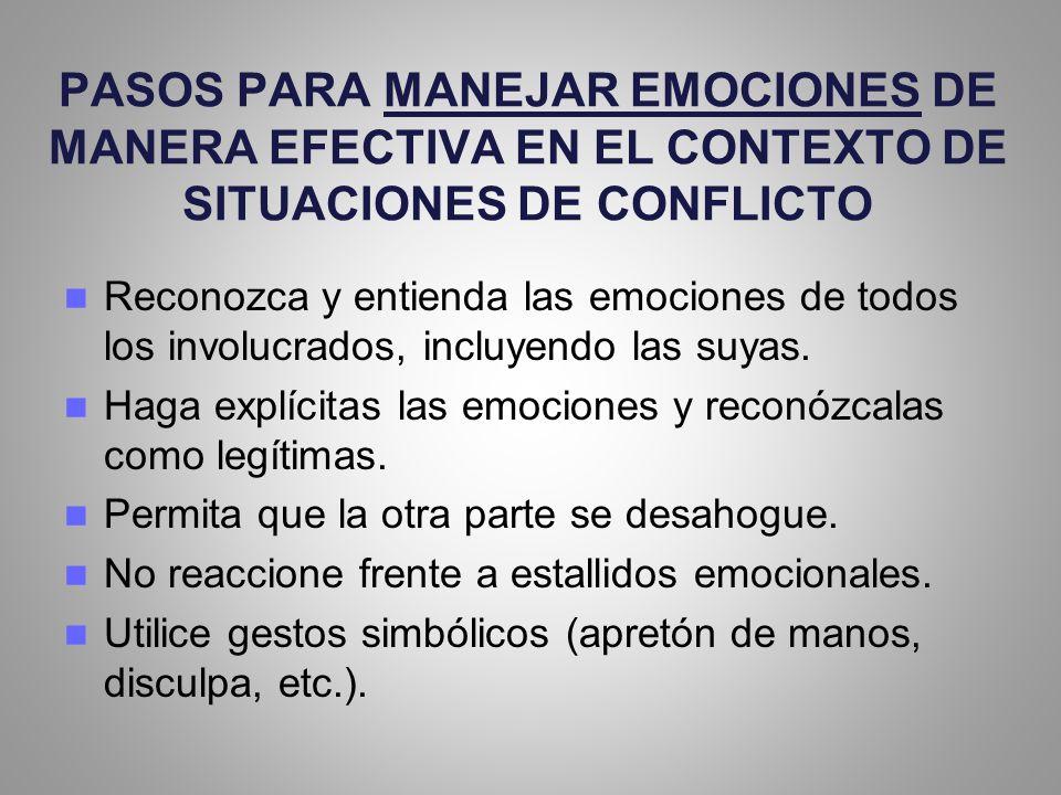 PASOS PARA MANEJAR EMOCIONES DE MANERA EFECTIVA EN EL CONTEXTO DE SITUACIONES DE CONFLICTO