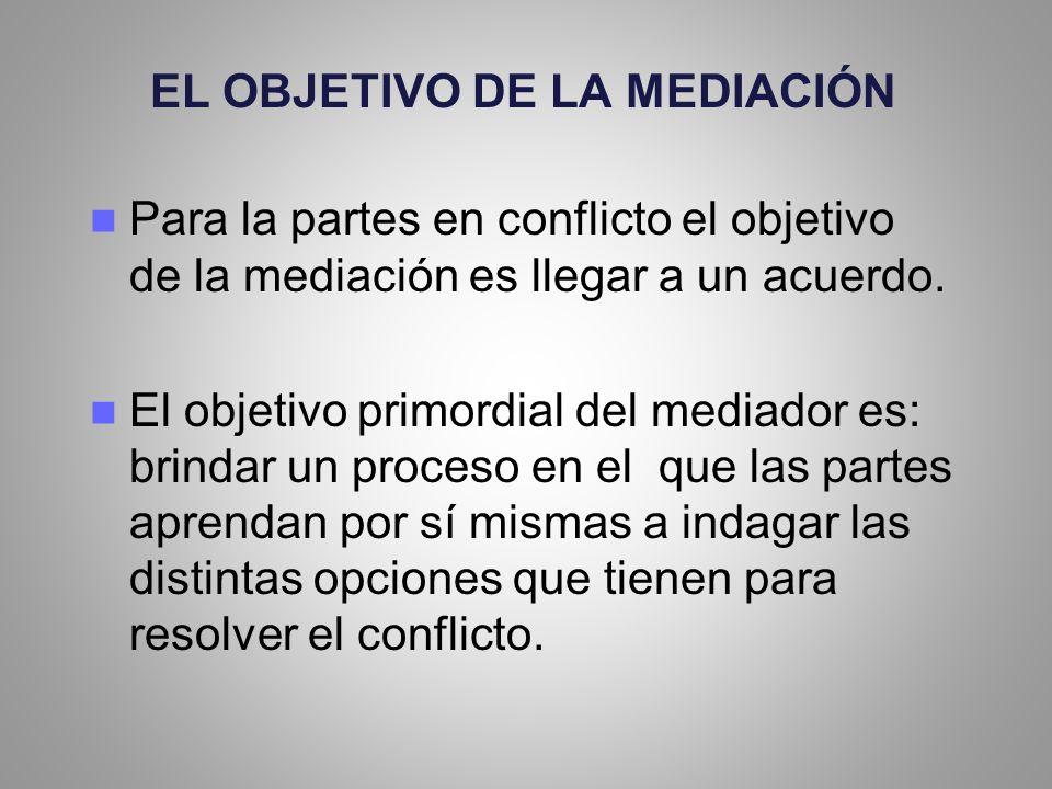 EL OBJETIVO DE LA MEDIACIÓN