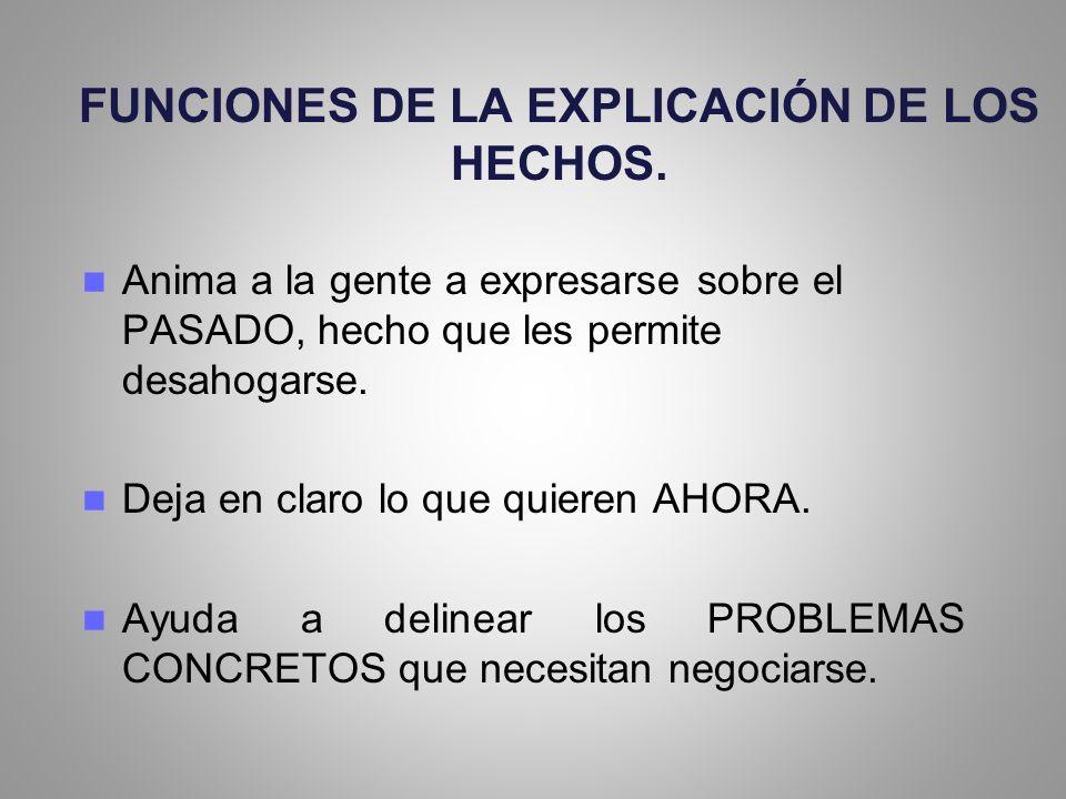 FUNCIONES DE LA EXPLICACIÓN DE LOS HECHOS.