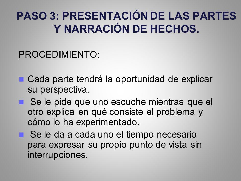 PASO 3: PRESENTACIÓN DE LAS PARTES Y NARRACIÓN DE HECHOS.