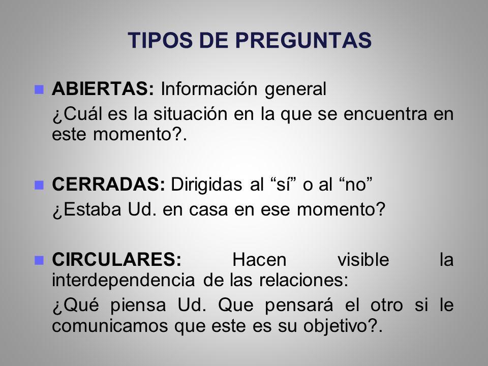 TIPOS DE PREGUNTAS ABIERTAS: Información general