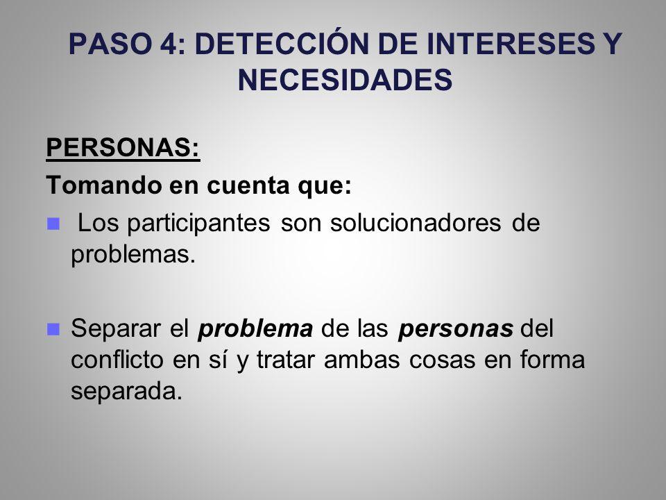 PASO 4: DETECCIÓN DE INTERESES Y NECESIDADES