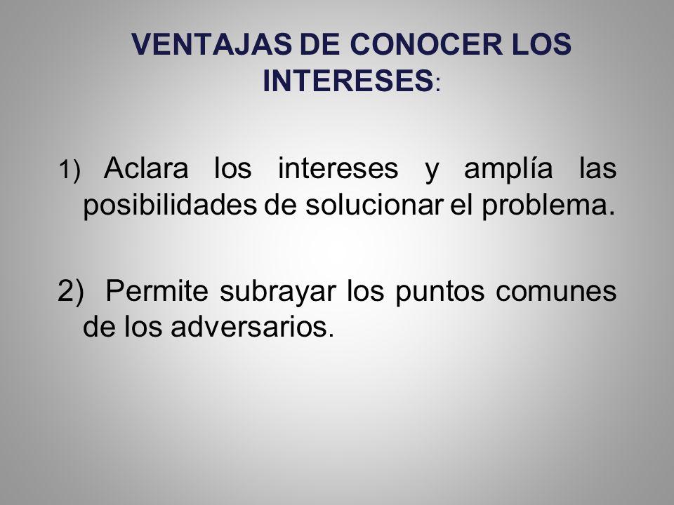 VENTAJAS DE CONOCER LOS INTERESES: