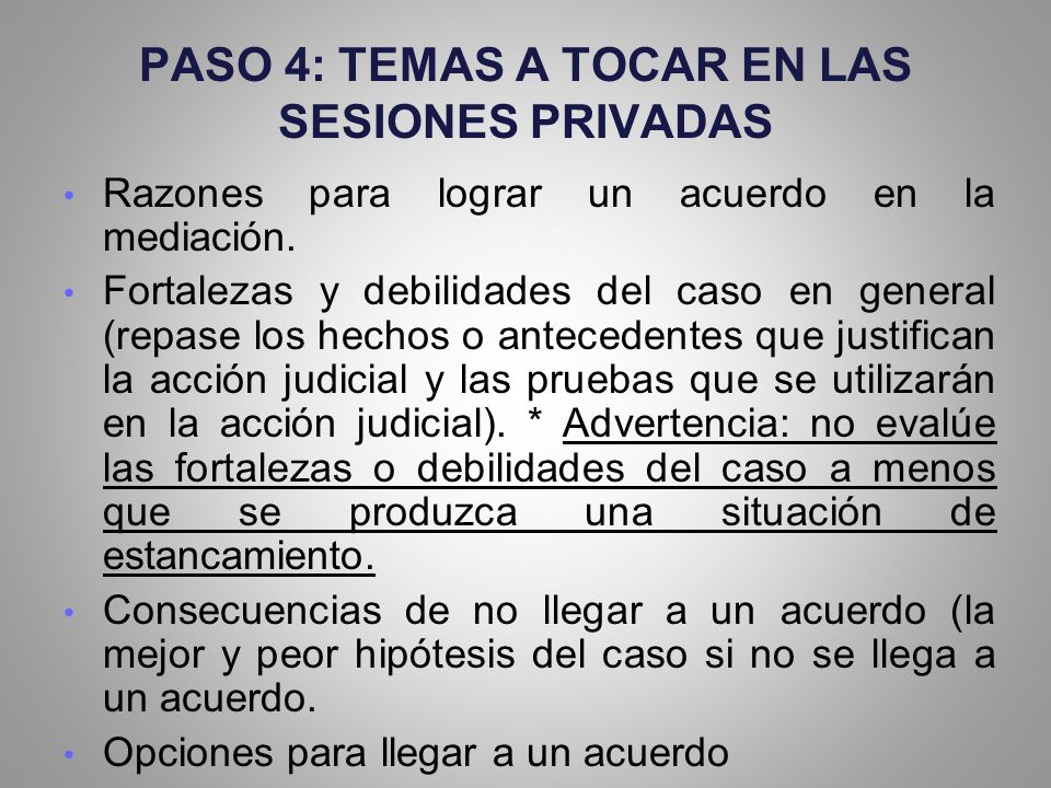 PASO 4: TEMAS A TOCAR EN LAS SESIONES PRIVADAS
