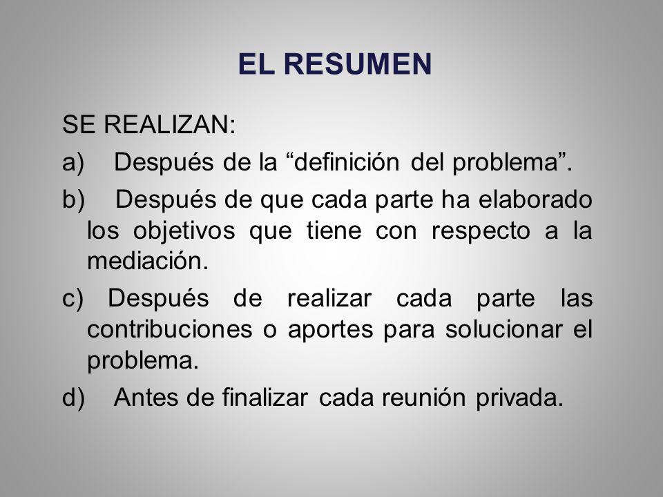 EL RESUMEN SE REALIZAN: a) Después de la definición del problema .