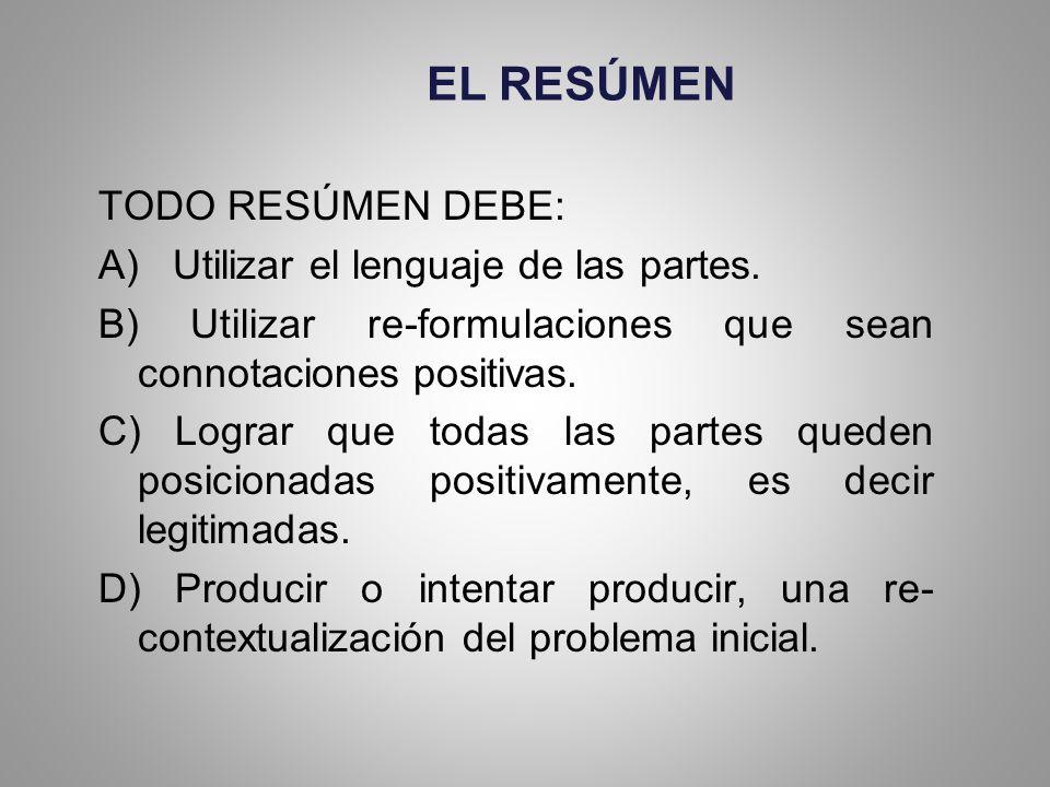 EL RESÚMEN TODO RESÚMEN DEBE: A) Utilizar el lenguaje de las partes.