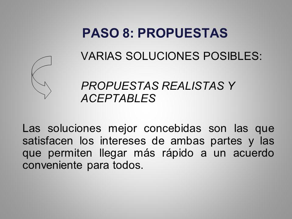 PASO 8: PROPUESTAS VARIAS SOLUCIONES POSIBLES: