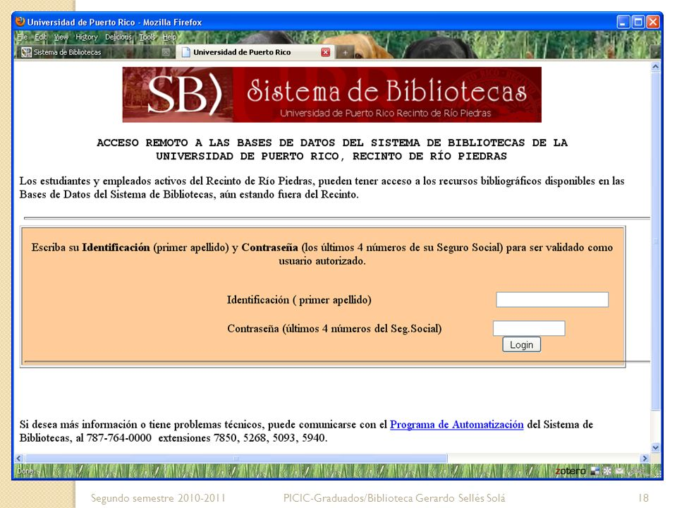 Segundo semestre 2010-2011 PICIC-Graduados/Biblioteca Gerardo Sellés Solá