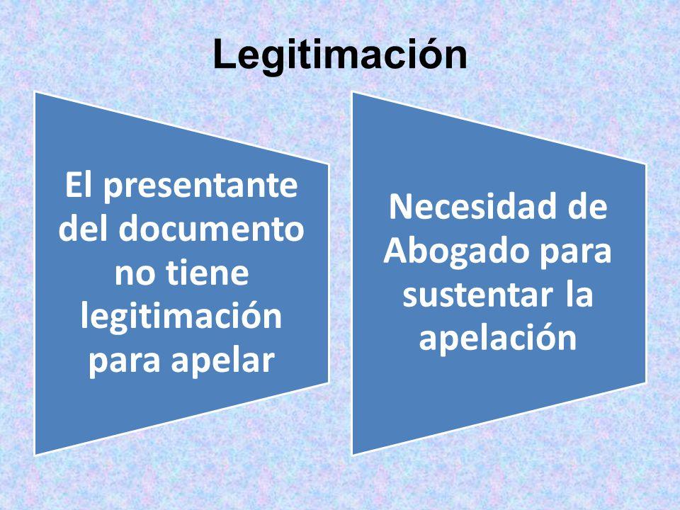 Legitimación El presentante del documento no tiene legitimación para apelar.