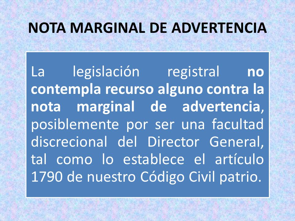 NOTA MARGINAL DE ADVERTENCIA