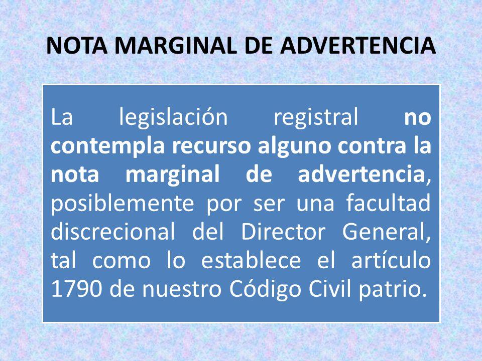 NOTA MARGINAL DE ADVERTENCIA